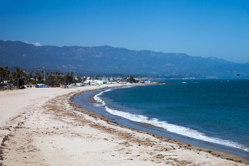 City beach with white sand in Santa Barbara