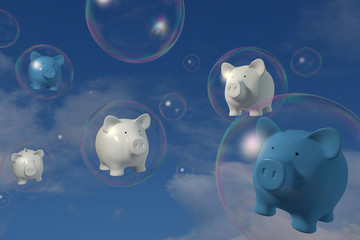Piggy bank - 5 Pigs floating in a bubble