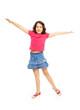 Happy jumping 11 years girl