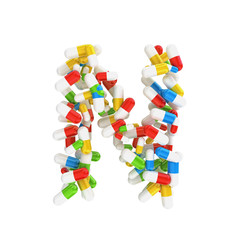 abstract letter N consisting of pills