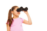 Girl with ponytails with binoculars poster