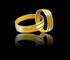wedding conected ring - gold