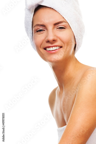 Happy laughing bath beauty