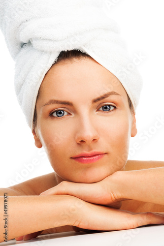 Relaxed woman after shower