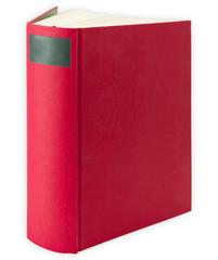 Das rote Buch mit fester Einband, stehend für Layouts