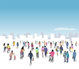 街に向かう人々