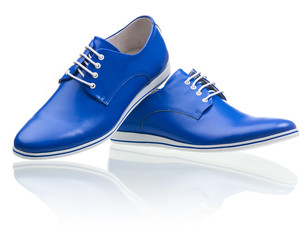 Blue male shoes over white