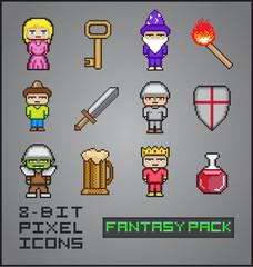 8 Bit Pixel Icons Fantasy Pack RPG Videogame Vector