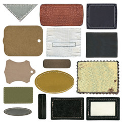 Blank leather, textile jeans labels