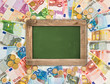 euro coins and banknotes background with green chalkboard