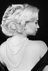 Wavy Hairstyle. Jewelry And Beauty. Fashion Art Photo. Retro Wom
