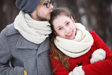 Young couple dressed in winter clothes