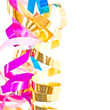 Serpentins multicolores, fond blanc carré