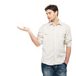 man shows  something on palm  isolated on white