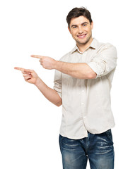 man points with fingers in the right side