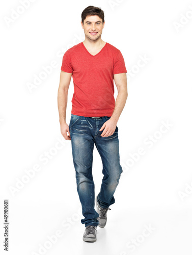 Full portrait of smiling  walking man