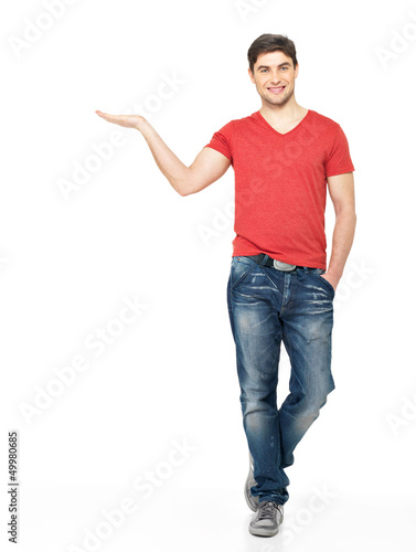 man holds something on palm