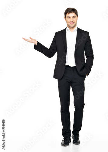 man shows  something on arm  isolated on white