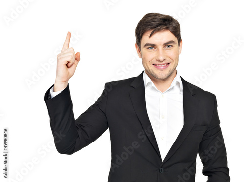 portrait of businessman points his finger up