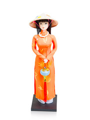 Vietnamese girl doll on white background
