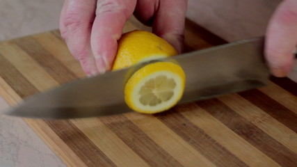 Lemon is cut on lobules