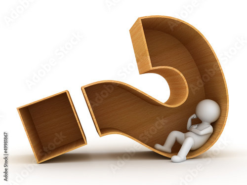 3d man sitting in wooden question mark over white background