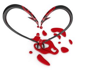Кровоточащий символ сердца из рыболовных крючков