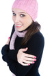 Cheerful woman clothing in warm hat. Winter season