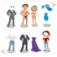 Juego de recortables de ropa con hombre y mujer
