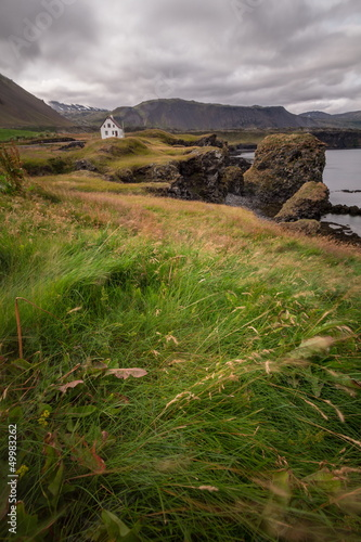 isolated house in iceland landscape