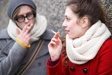 Young couple smoking