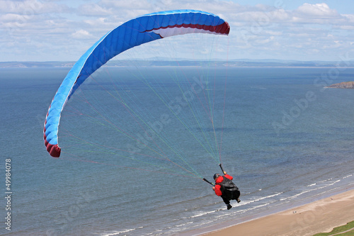 paraglider over Rhossili beach