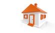 3D Haus Orange Weiß
