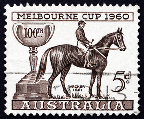 Postage stamp Australia 1960 Melbourne Cup and Archer