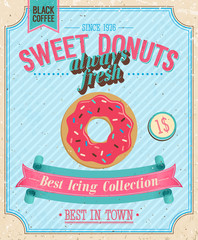 Vintage Donuts Poster. Vector illustration.