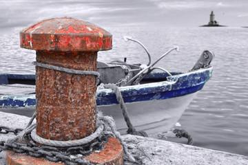 Muelle con Barco b&n