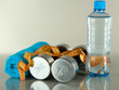 Dumbbells with towel,centimeter and bottle of water