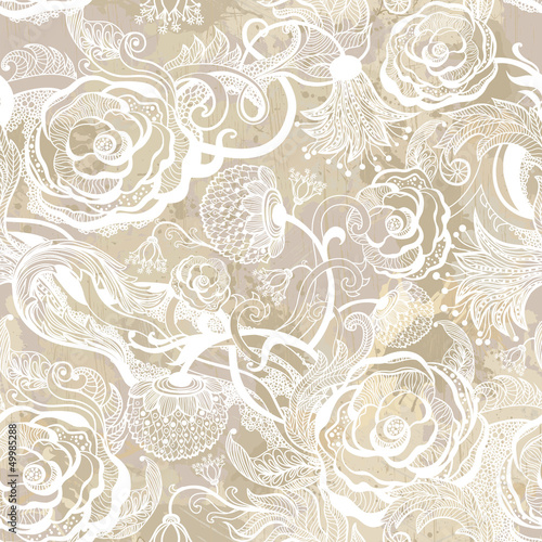 Romantic vintage seamless pattern with abstract flower