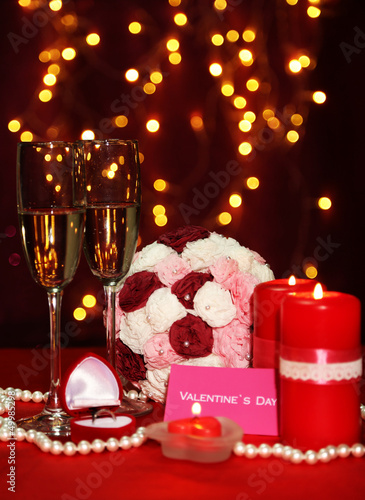 Composition Valentine's Day on lights background