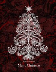 Christmas tree. Vector holiday greeting card