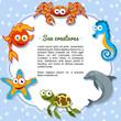 Animales marinos formando un marco