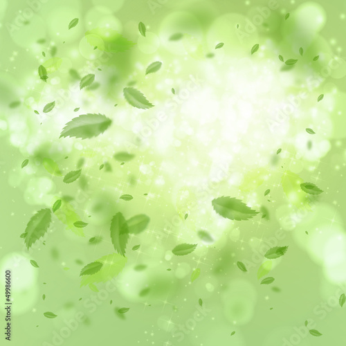 Spring and summer background: leaf tornado