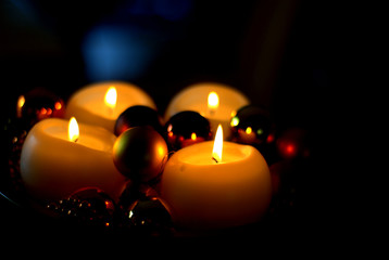x-mas candles with black background