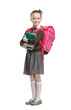 Pupil with suitcase and exercisebooks is ready to go to school