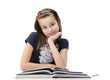 Smiley schoolgirl studies useful material, isolated