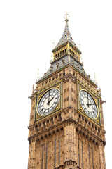Tower Big Ben on isolated white background