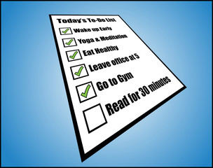Concept of daily to-do list or task list - perspective view
