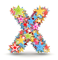 Letter X from colored stars