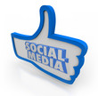 Social Media Words Blue Thumbs Up Community Network