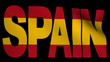 Spain text with fluttering flag animation